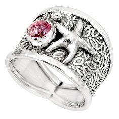 Natural pink tourmaline 925 silver star fish ring jewelry size 6.5 m44693
