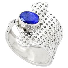 Natural blue sapphire 925 silver adjustable ring jewelry size 6.5 m44987