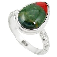 Natural green bloodstone african (heliotrope) 925 silver ring size 7 m46453