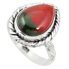 Natural green bloodstone african (heliotrope) 925 silver ring size 6.5 m46483