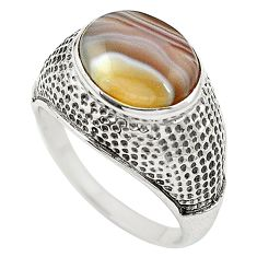 Natural brown botswana agate 925 sterling silver ring size 9 m47689
