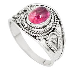 Natural pink tourmaline 925 sterling silver ring jewelry size 7.5 m47793