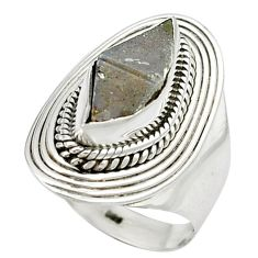 4.73cts natural grey anatase crystal 925 sterling silver ring size 7 m49197