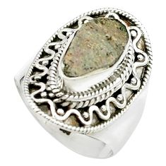 4.21cts natural grey anatase crystal 925 sterling silver ring size 7 m49210