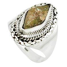 4.22cts natural grey anatase crystal 925 sterling silver ring size 8 m49211