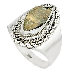 4.22cts natural grey anatase crystal 925 sterling silver ring size 8 m49212