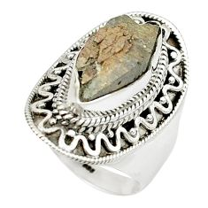 6.20cts natural grey anatase crystal 925 sterling silver ring size 7.5 m49213