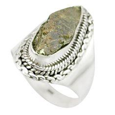 4.73cts natural grey anatase crystal 925 sterling silver ring size 7.5 m49214