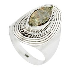 4.73cts natural grey anatase crystal 925 sterling silver ring size 8 m49216
