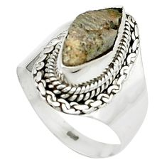 4.03cts natural grey anatase crystal 925 sterling silver ring size 6.5 m49217
