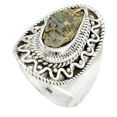 4.38cts natural grey anatase crystal 925 sterling silver ring size 7 m49218