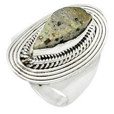 4.38cts natural grey anatase crystal 925 sterling silver ring size 6.5 m49219