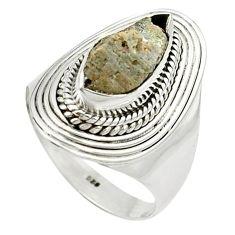 4.21cts natural grey anatase crystal 925 sterling silver ring size 8.5 m49220