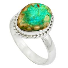 Natural green opaline 925 sterling silver ring jewelry size 8 m50521