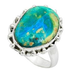 Natural green opaline 925 sterling silver ring jewelry size 7.5 m50537