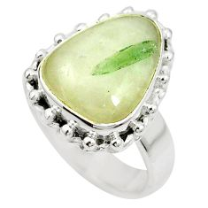 Natural green tourmaline in quartz 925 silver ring jewelry size 6.5 m50709