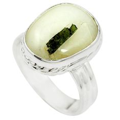 Natural green tourmaline in quartz 925 silver ring jewelry size 7 m50710