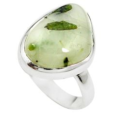 Natural green tourmaline in quartz 925 sterling silver ring size 7.5 m50713