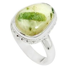 Natural green tourmaline in quartz 925 sterling silver ring size 8 m50717