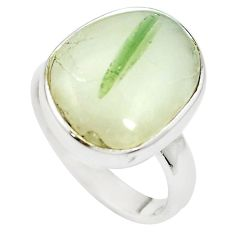 Natural green tourmaline in quartz 925 silver ring jewelry size 6.5 m50722