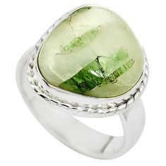 Natural green tourmaline in quartz 925 silver ring jewelry size 6.5 m50728