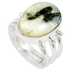 Natural green tourmaline in quartz 925 silver ring jewelry size 7.5 m50730