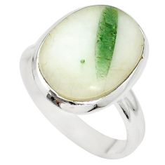 925 sterling silver natural green tourmaline in quartz ring size 7 m50732