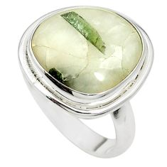Natural green tourmaline in quartz 925 silver ring jewelry size 8.5 m50740