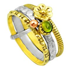 Natural tourmaline 925 silver two tone stackable ceramic ring size 8.5 m51715