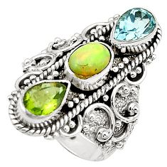 Natural multi color ethiopian opal 925 silver ring jewelry size 6.5 m53106