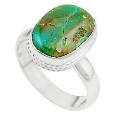 Natural green opaline 925 sterling silver ring jewelry size 6.5 m54941