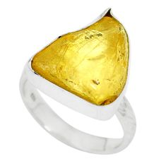 Yellow amber fancy 925 sterling silver ring jewelry size 6.5 m55316