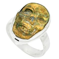 Natural brown picture jasper 925 sterling silver skull ring size 6 m55403