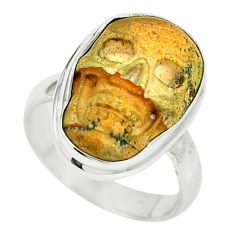 925 sterling silver natural brown picture jasper skull ring size 6 m55404