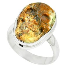 Natural brown picture jasper 925 sterling silver skull ring size 6.5 m55405