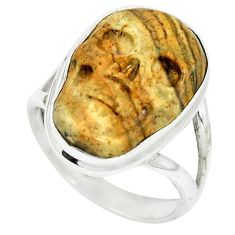 Natural brown picture jasper 925 silver skull ring jewelry size 6.5 m55420