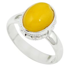 Yellow amber 925 sterling silver ring jewelry size 6.5 m55847