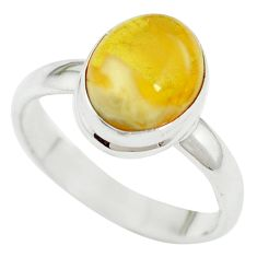 Yellow amber 925 sterling silver ring jewelry size 8 m55850