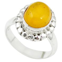 925 sterling silver yellow amber oval ring jewelry size 6 m55853