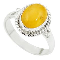 Yellow amber 925 sterling silver ring jewelry size 7 m55856
