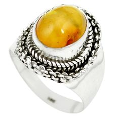 Yellow amber 925 sterling silver ring jewelry size 7 m55882