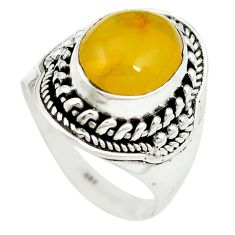 Yellow amber 925 sterling silver ring jewelry size 8 m55887