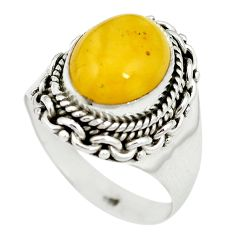 Yellow amber 925 sterling silver ring jewelry size 8 m55895