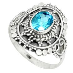 Natural blue topaz 925 sterling silver ring jewelry size 8.5 m56471
