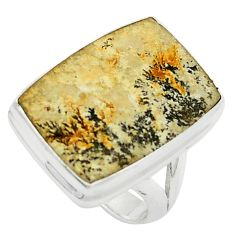Natural multi color germany psilomelane dendrite 925 silver ring size 6.5 m58693