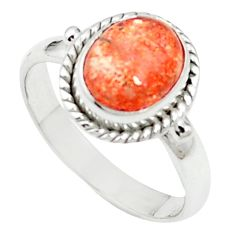4.46cts natural orange sunstone (hematite) 925 silver ring size 8.5 m59395