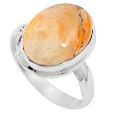 Natural orange calcite 925 sterling silver ring jewelry size 7.5 m59682