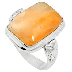 Natural orange calcite 925 sterling silver ring jewelry size 6.5 m59683