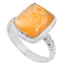 Natural orange calcite 925 sterling silver ring jewelry size 8 m59684