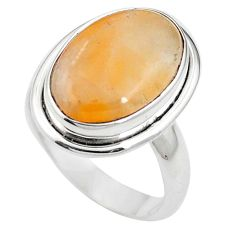 925 sterling silver natural orange calcite oval ring jewelry size 7 m59685